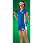 Slightly Rounded V-Neck Womens Racer Back Tennis Jersey