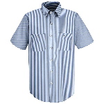 Short Sleeve Mock Oxford Industrial Stripe Shirt