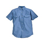 100% Cotton Blue Chambray Work Shirt, Short Sleeve