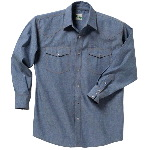 100% Cotton Blue Chambray Western Shirt, Long Sleeve