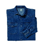 Blue Denim Western Shirt, Long Sleeve