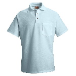 Mens 50/50 Blend S/S Pique Knit Polo Shirt With Pocket