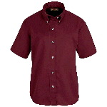 Ladies Short Sleeve Button-Down Poplin Shirt