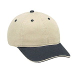 Washed Cotton Twill Sandwich Visor Low Profile Pro Style Two Tone Color Caps