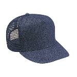 Denim High Crown Golf Style Mesh Back Caps