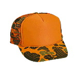 Neon Camouflage Polyester Foam Front High Crown Golf Style Mesh Back Two Tone Color Cap