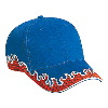 Otto Cap Flame Pattern Brushed Twill Low Profile Pro Style Caps Royal/Red/White