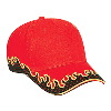Otto Cap Flame Pattern Brushed Twill Low Profile Pro Style Caps Red/Black/Gold