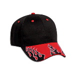 Flame Pattern Visor Brushed Cotton Twill Low Profile Pro Style Two Tone Color Cap