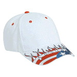 United States Flag Flame Pattern Visor Brushed Cotton Twill Low Profile Pro Style Caps