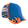 Otto Cap Flame Pattern Cotton Twill Low Profile Pro Style Mesh Back Two Tone Color Caps Royal/Combination