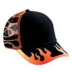 Flame Pattern Cotton Twill Low Profile Pro Style Mesh Back Two Tone Color Caps
