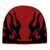 "Otto Cap Flame Design Acrylic Knit Two Tone Color 8"" Beanie Red/Black"