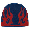 "Otto Cap Flame Design Acrylic Knit Two Tone Color 8"" Beanie Navy/Red"