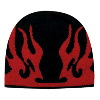 "Otto Cap Flame Design Acrylic Knit Two Tone Color 8"" Beanie Black/Red"