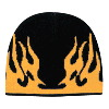 "Otto Cap Flame Design Acrylic Knit Two Tone Color 8"" Beanie Black/Gold"