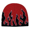 "Otto Cap Flame Design Acrylic Knit Two Tone Color 8"" Beanie Red/Black/White"