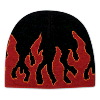 "Otto Cap Flame Design Acrylic Knit Two Tone Color 8"" Beanie Black/Red/Gold"