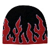 "Otto Cap Flame Design Acrylic Knit Two Tone Color 8"" Beanie Black/Red/White"