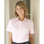 Ladies Short Sleeve Solid Dress Shirt