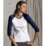 Ladies Two-Tone 3/4-Sleeve Raglan T-Shirt
