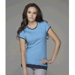 Ladies Sheer Short-Sleeve 2-in-1 Jersey T-Shirt