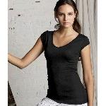 Ladies Tori Sheer Rib Cap-Sleeve Deep-V-Neck T-Shirt