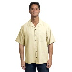Mens Silk Blend Short Sleeve Camp Shirt