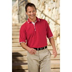 Silk Touch� Sport Shirt with Stripe Trim