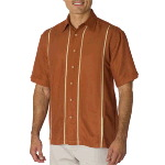 Mens Classic Camp Shirt With Vertical Inset Panel Stripes