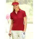 "Womens ""Tipped Pima Platinum"" Platinum Finish Tipped Pique Polo"