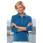 Ladies 3/4 Sleeve Silkwash Stretch Pique Sport Shirt