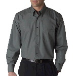 Mens Long Sleeve Silky Poplin Solid Oxford Shirt
