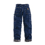 Washed-Demin Work Dungaree, Flannel Lined