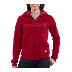 Womens Midweight Zip-Front Graphic Hooded Sweatshirt