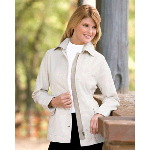 Ladies Hip-Length Brushed Canvas Jacket with Removable Collar