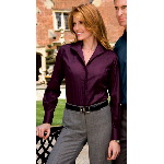 Ladies Long Sleeve Herringbone Non-Iron Shirt