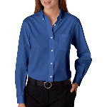 Ladies Long Sleeve Blended Pinpoint Oxford Shirt