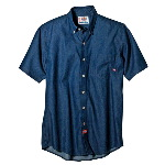 Mens Short Sleeve Button Down Denim Shirt
