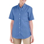 Womens Button Down Oxford Shirt - Short Sleeve