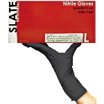 Slate Powder Free, Textured Black Nitrile Gloves (Case)