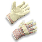 Split Cowhide Leather Gloves, with Cotton Back, Fleece Palm