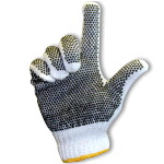 String Knit Gloves with PVC Dots on Palm and Back