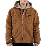 Mens Sandstone Hooded Multi-Pocket Jacket, Sherpa Lined