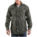 Mens Midweight Flannel Plaid Long Sleeve Shirt
