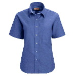Womens Short Sleeve Soft Collar Oxford Dress Shirt