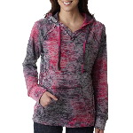 Ladies Courtney Burnout Hooded Pullover Blend Fleece