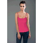 Cotton Spandex Baby Rib Spaghetti Top With Built-in Bra