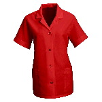 Womens Short Sleeve Smock, Button Front