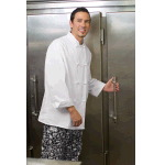 Eight Knot Button Chef Coat, 100% Polyester, Thermometer Pocket